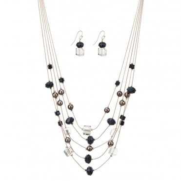 Rose gold multi beaded necklace and earring set