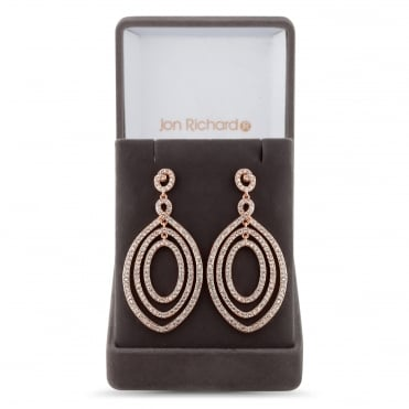 Rose gold multi circle drop earring