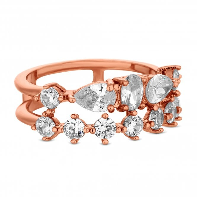 Rose Gold Multi Cubic Zirconia Double Row Ring
