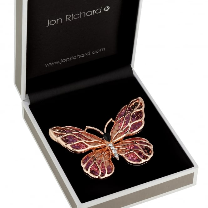 Jon Richard Rose gold open butterfly brooch