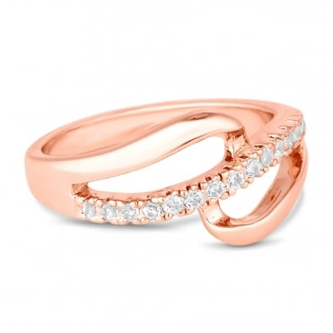 Rose gold open pave loop ring
