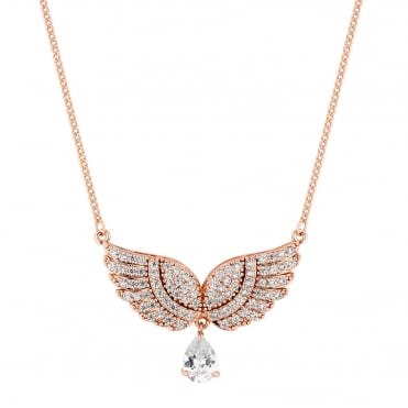 Rose gold pave angel wing necklace