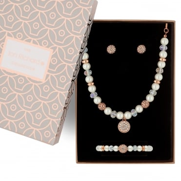 Rose gold pave ball and pearl jewellery set