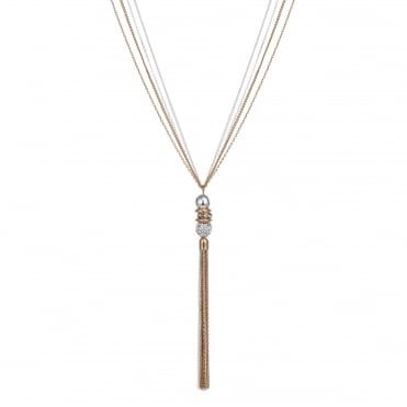 Rose gold pave ball necklace