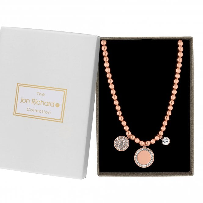 Rose Gold Pave Crystal Disc Necklace