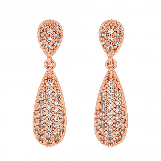 Rose Gold Pave Crystal Peardrop Drop Earring