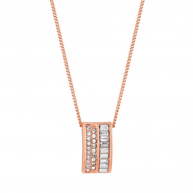 Rose Gold Pave Curve Pendant Necklace Embellished With Swarovski Crystals