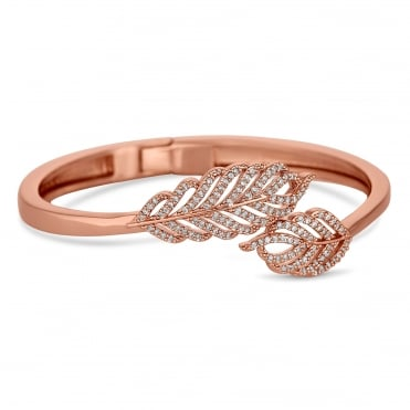 Rose gold pave feather bangle