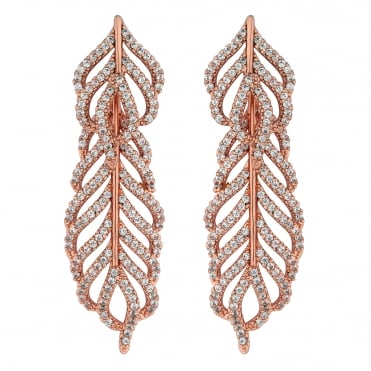 Rose gold pave feather drop earring