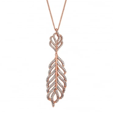 Rose gold pave feather necklace