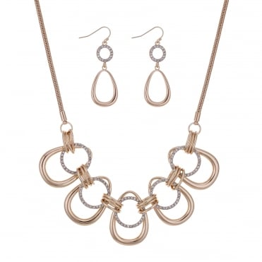 Rose gold pave loop jewellery set