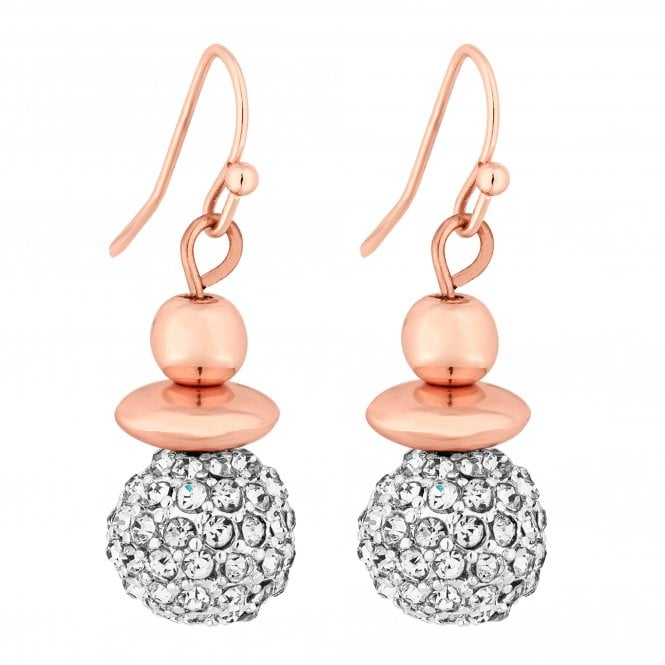 Rose Gold Pave Orb Drop Earring