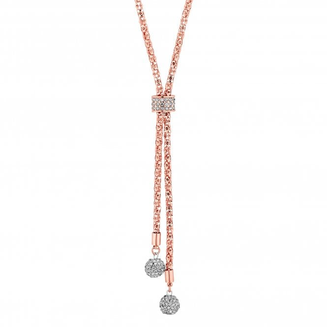 Rose Gold Pave Orb Lariat Necklace