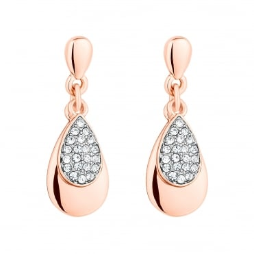Rose gold pave peardrop earring