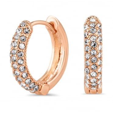 Rose gold pave small hoop earring