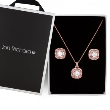 Rose gold pave square jewellery set