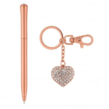 Rose gold pen and keyring set