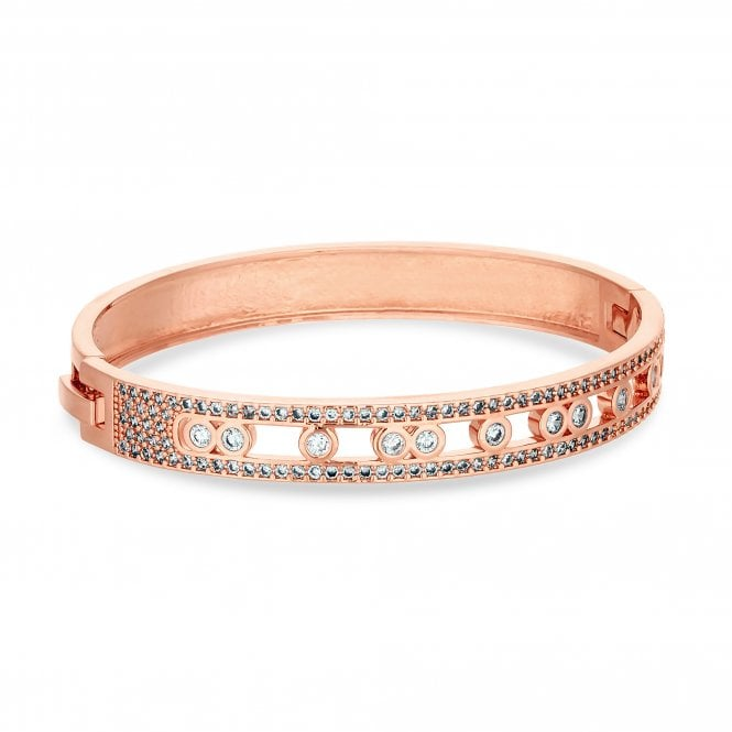 Rose Gold Plated Cubic Zirconia Channel Stone Bangle