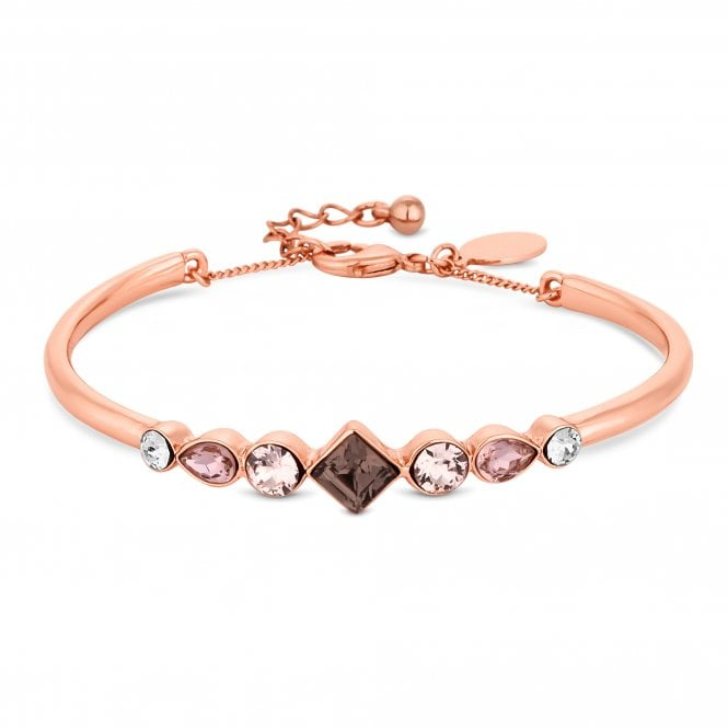 Rose Gold Purple Crystal Bangle Embellished With Swarovski Crystals