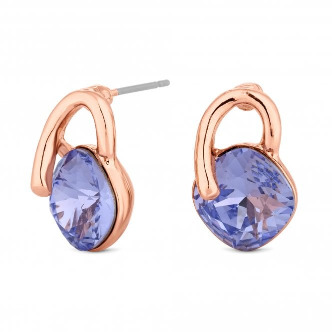 Rose Gold Purple Crystal Loop Stud Earring Embellished With Swarovski Crystals