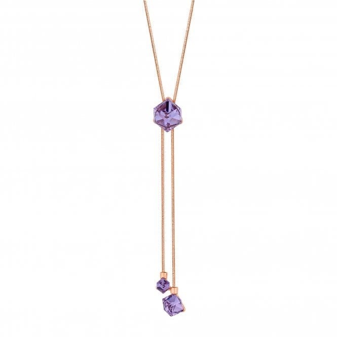 Rose Gold Purple Cube Lariat Necklace Embellished With Swarovski Crystals
