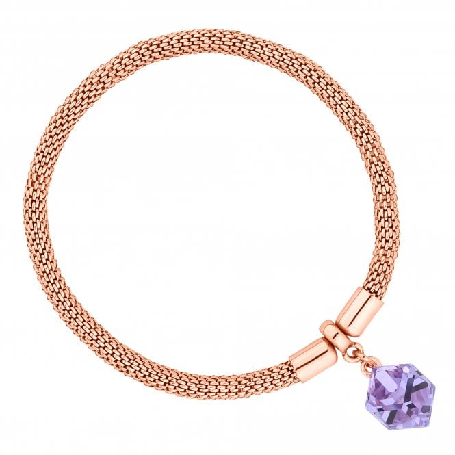 Rose Gold Purple Cube Mesh Bracelet Embellished With Swarovski Crystals