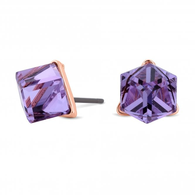 Rose Gold Purple Cube Stud Earring Embellished With Swarovski Crystals