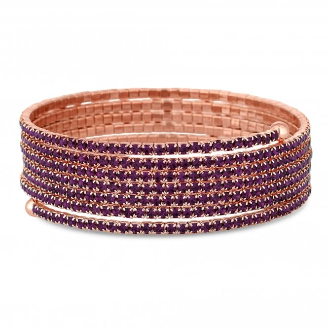 Rose Gold Purple Diamante Twist Bracelet