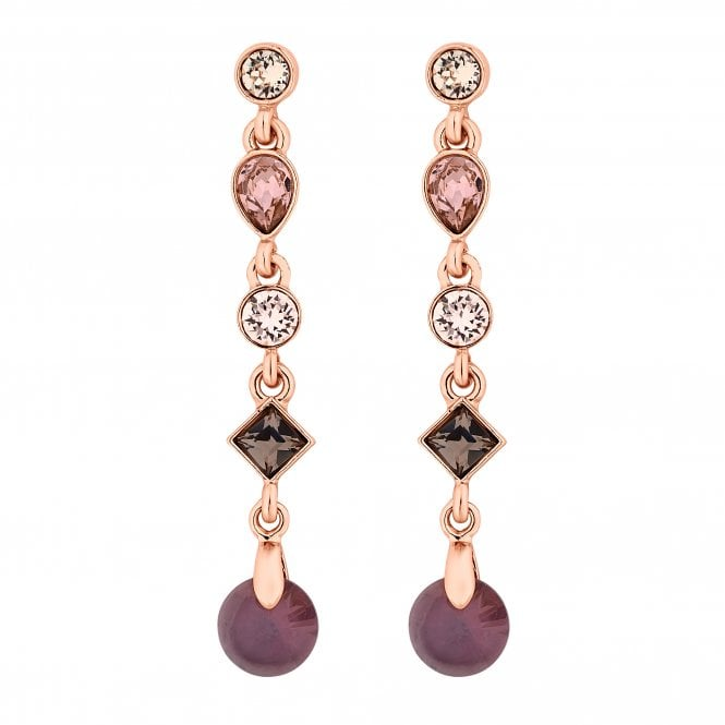 Rose Gold Purple Drop Earring Embellished With Swarovski Crystals