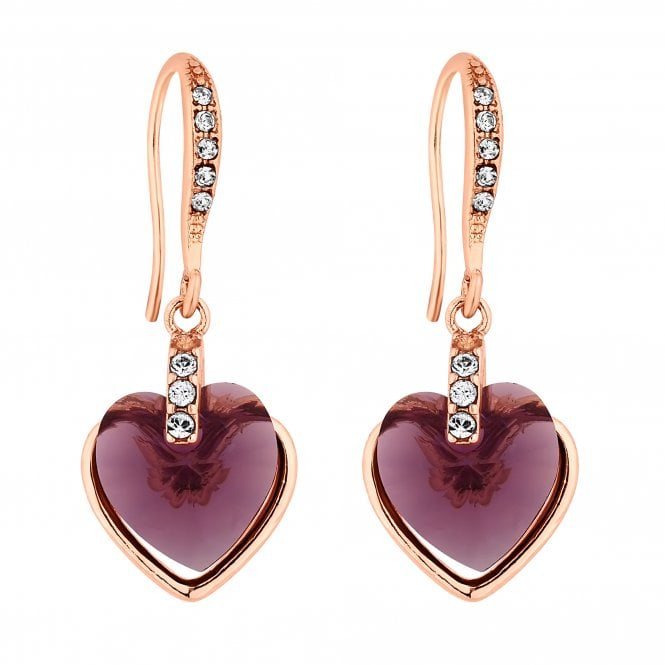 Rose Gold Purple Heart Drop Earring Embellished With Swarovski Crystals