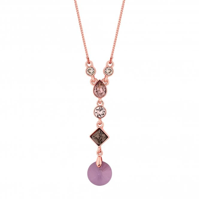 Rose Gold Purple Lariat Necklace Embellished With Swarovski Crystals