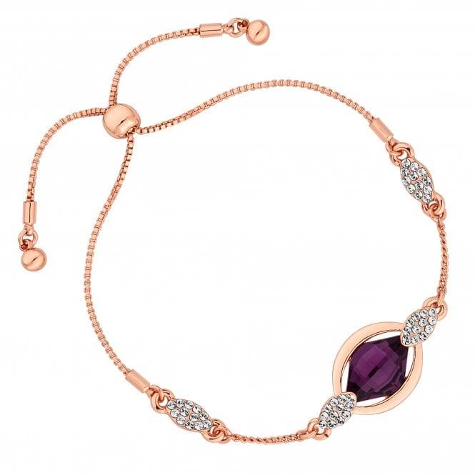Rose Gold Purple Pave Bracelet Embellished With Swarovski Crystals