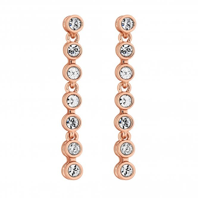 Rose Gold Tennis Crystal Drop Earring Embellished With Swarovski Crystals