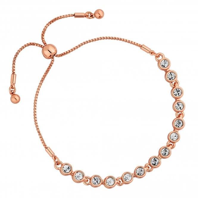 Rose Gold Tennis Crystal Toggle Bracelet Embellished With Swarovski Crystals