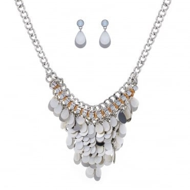 Shell drop necklace and matching earring set