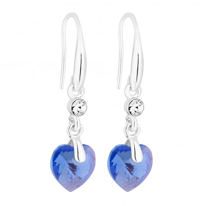 Silver Purple Shimmer Heart Drop Earring Embellished With Swarovski Crystals