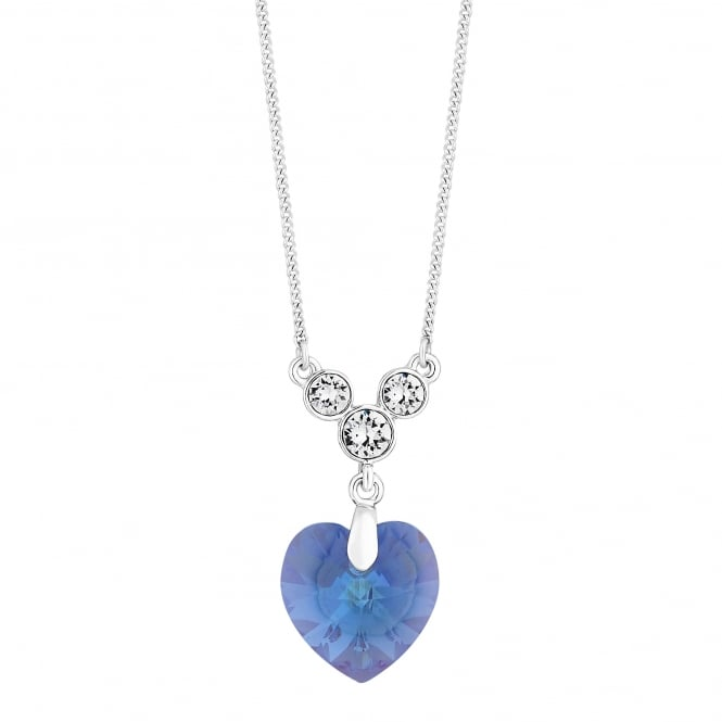 Jon Richard made with Swarovski® crystals Silver Purple Shimmer Heart Necklace Embellished With Swarovski® Crystals