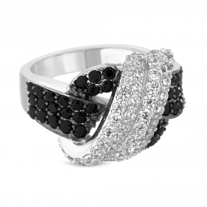 Silver And Black Cubic Zirconia Knot Ring