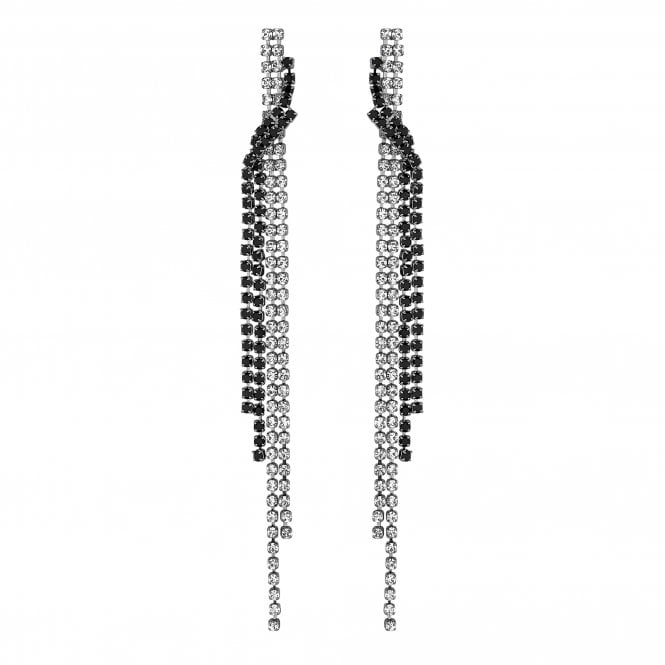 Silver And Black Diamante Twist Drop Earring