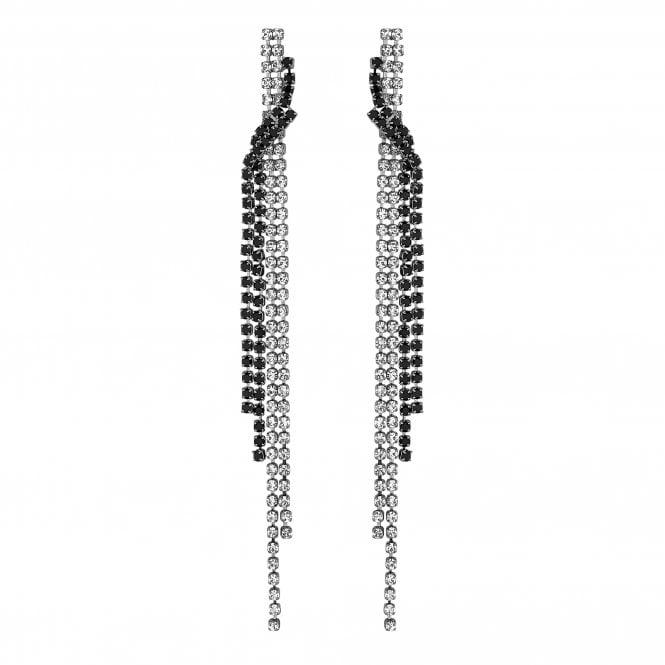 Silver And Black Diamante Twist Drop Earring