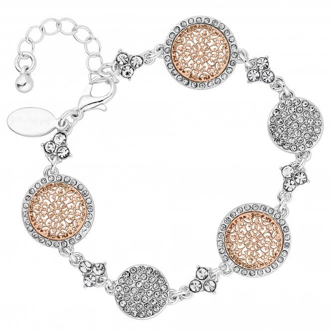 Silver And Gold Crystal Filigree Disc Bracelet