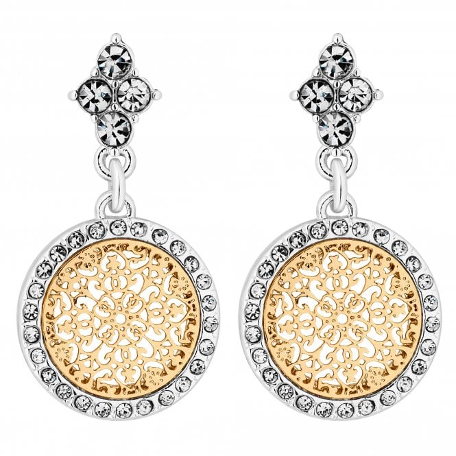 Silver And Gold Crystal Filigree Disc Drop Earring