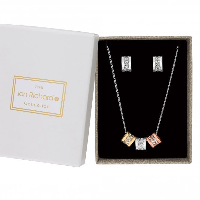 Silver And Gold Crystal Pave Charm Jewellery Set In A Gift Box