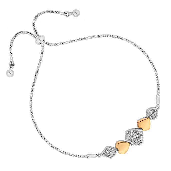Silver And Gold Pave Cubic Zirconia Toggle Bracelet