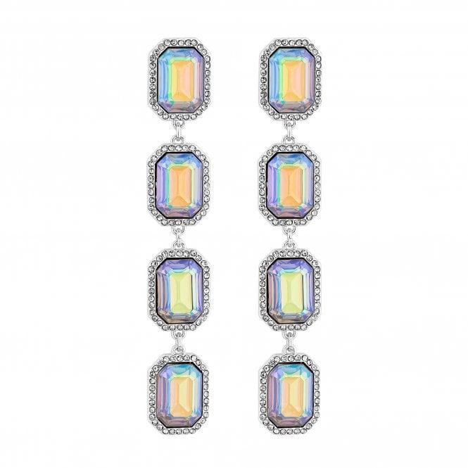 Silver Aurora Borealis Crystal Drop Earring