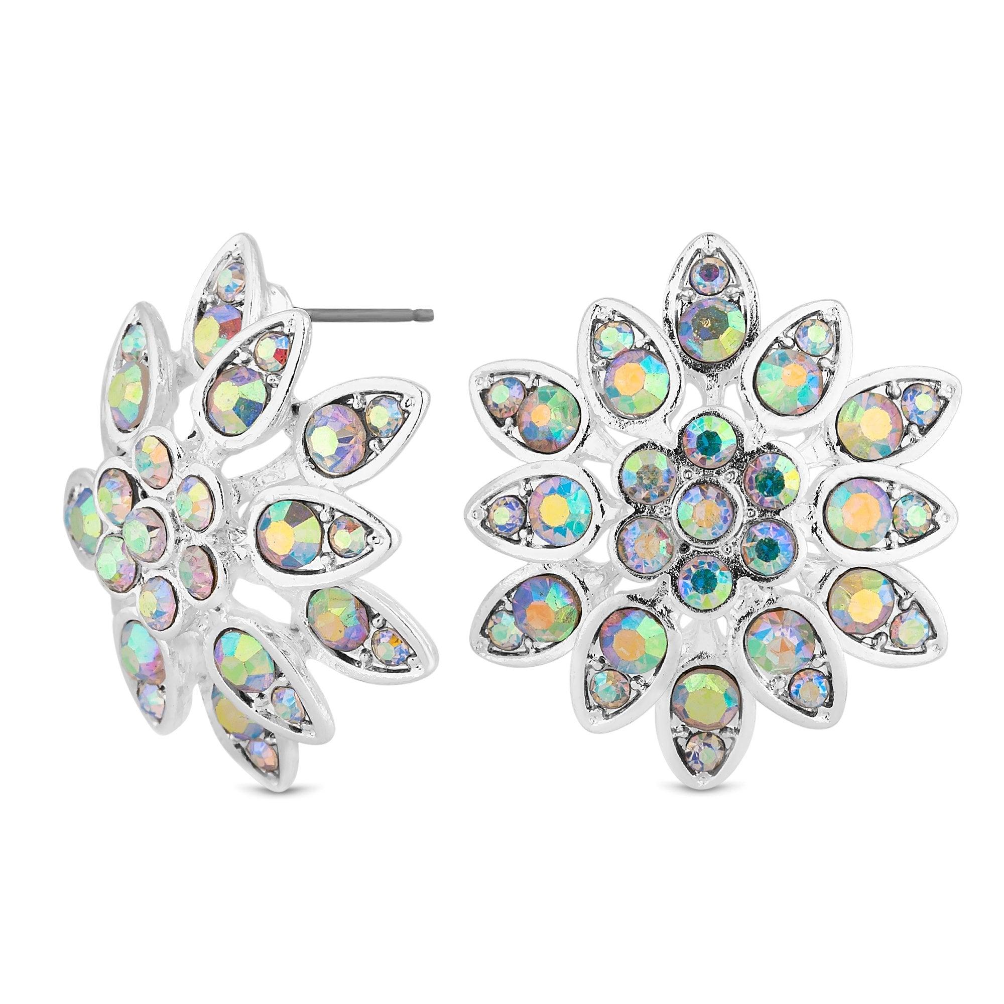Silver Aurora Borealis Crystal Stud Earring