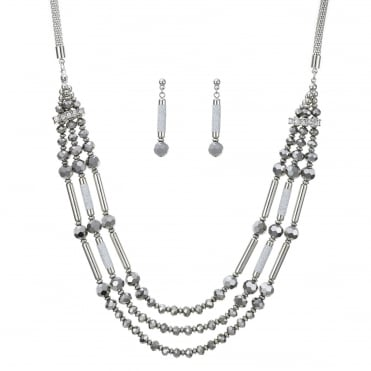 Silver beaded multi row necklace and earring set