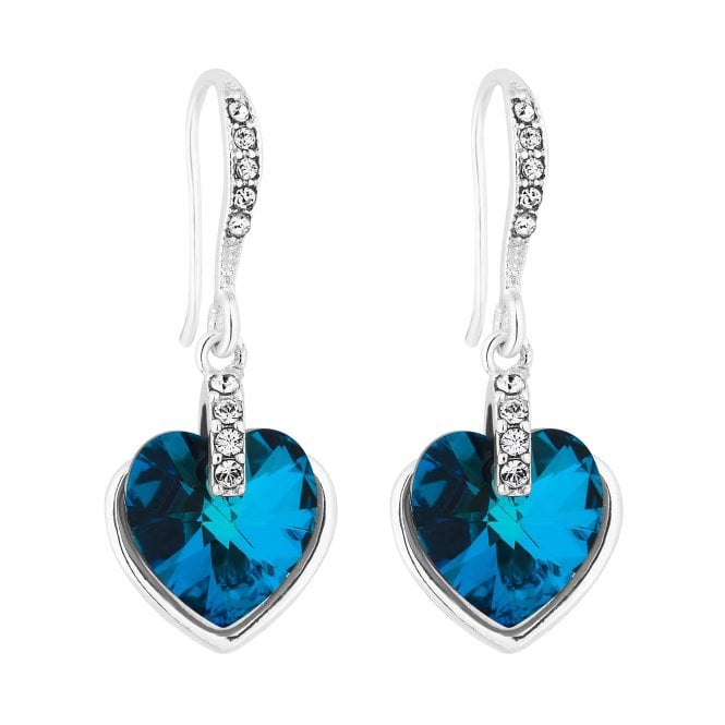 Silver Bermuda Blue Heart Drop Earring Embellished With Swarovski Crystals