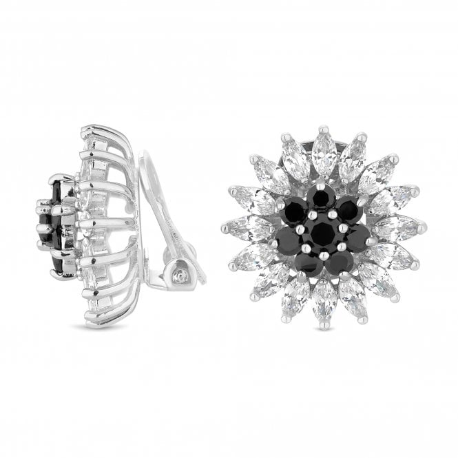 Silver Black Crystal Cluster Clip On Earring