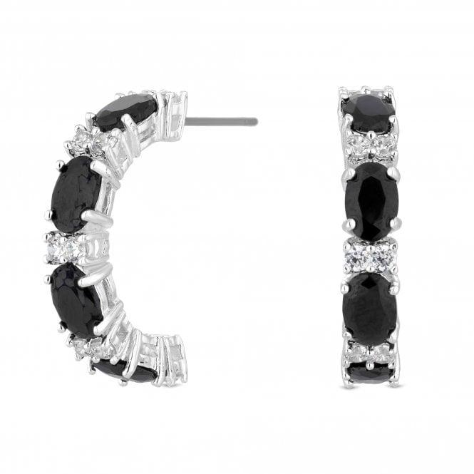Silver Black Crystal Half Hoop Earring